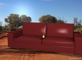 a pear on a couch