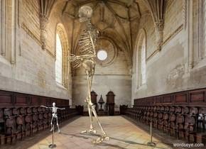 a huge skeleton facing a skeleton