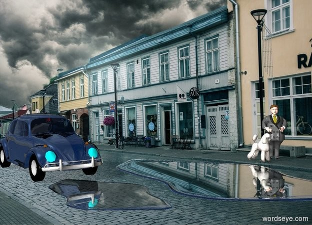 Input text: storm backdrop.a shiny black car.the car's headlight is aqua.a 1st large puddle is -2 feet in front of the car.pale shadow plane.a dog is 17 feet right of the car.it is in front of the car.a man is right of the dog.a 2nd huge puddle is right of the 1st puddle.the man is facing southwest.