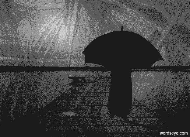 Input text: a  gray shiny [bridge] backdrop.sky is   gray  [bridge].ambient light is black.sky is 4000 feet tall.a 20 inch tall black flat man.the man is facing north.a 20 inch tall black umbrella is -13 inch above the man.