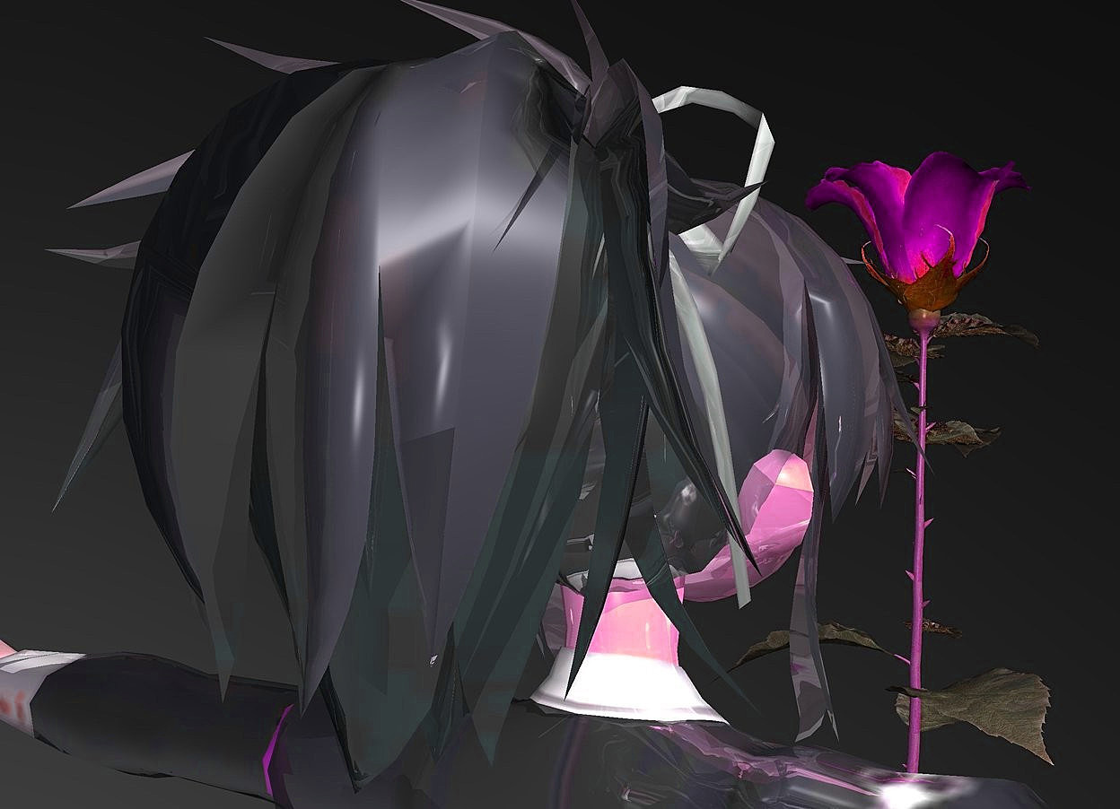 Input text: a 400 inch tall shiny woman.sky is black.ground is invisible.a 180 inch tall  rose is in front of the woman.the rose is -180 inch above the woman.