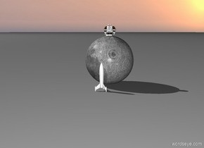 There is a  extremely huge full moon behind a very small rocket.  The little humanoid robot is on the moon.
