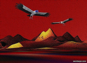 ground is 1000 inch wide [sd].ground is 70 feet tall .sky is maroon.a 1st 60 inch tall blue vulture is 130 inch above the ground.the 1st vulture leans 30 degrees to the front.a 2nd 50 inch tall red vulture is 90 inch right of the 1st vulture.the 2nd vulture is facing the 1st vulture.the 2nd vulture leans 45 degrees to the front.