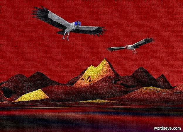 Input text: ground is 1000 inch wide [sd].ground is 70 feet tall .sky is maroon.a 1st 60 inch tall blue vulture is 130 inch above the ground.the 1st vulture leans 30 degrees to the front.a 2nd 50 inch tall red vulture is 90 inch right of the 1st vulture.the 2nd vulture is facing the 1st vulture.the 2nd vulture leans 45 degrees to the front.