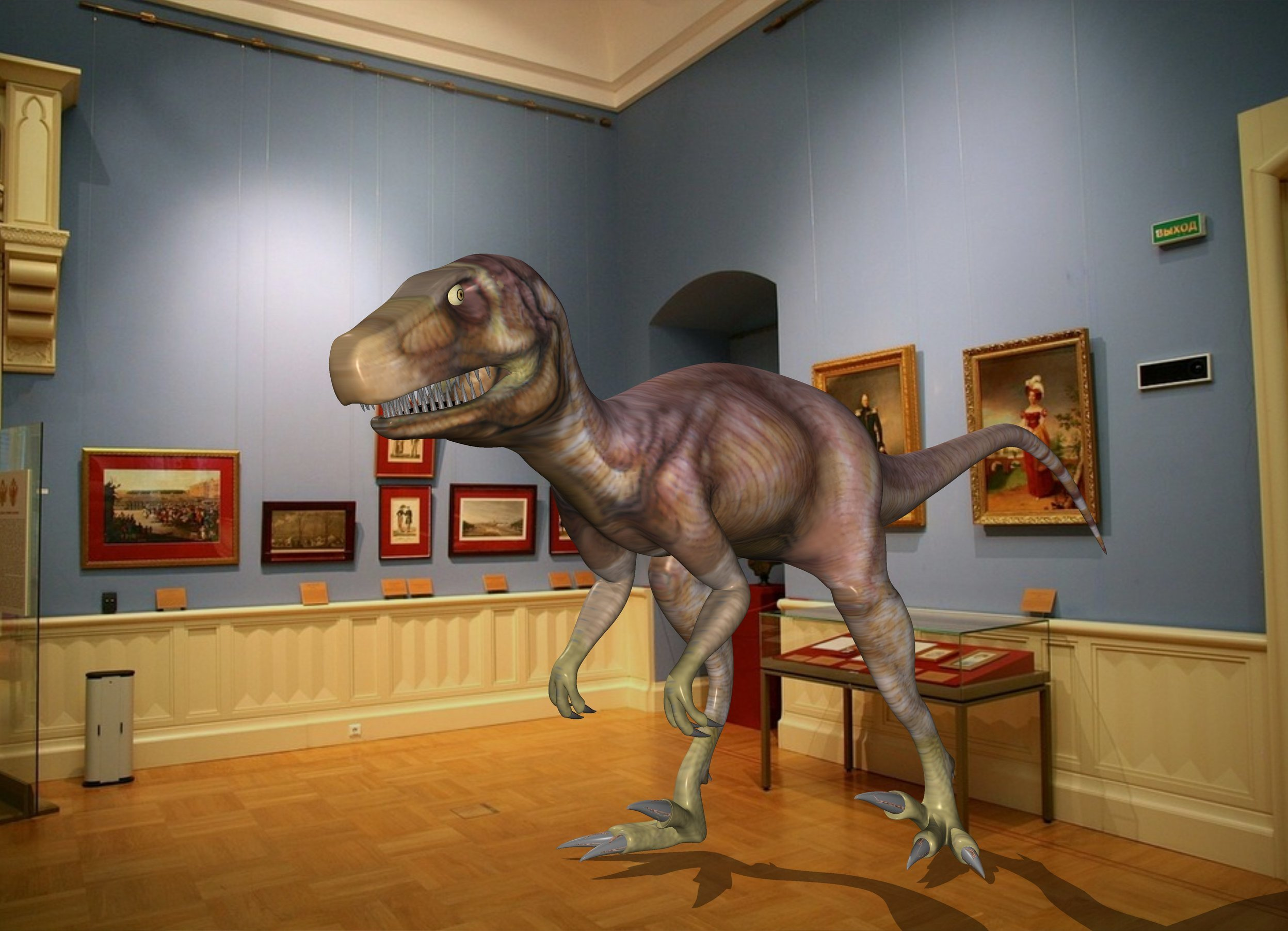 Input text: the dinosaur is in the museum.