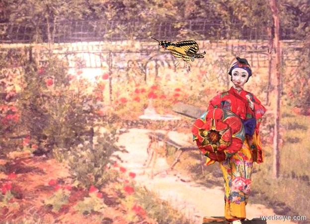 Input text: a 1 foot tall doll is in a flower garden. a cream light is in front of and right of the doll. camera light is dim. ambient light is pink. a  butterfly is -.1 foot above and -.1 foot left of the doll. it faces the doll. it leans to the front.