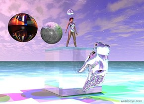 the glass cube. the ground is black water. the big silver hand is 1 inch in front of the cube. it is 1 inch above the ground. it is facing the cube. the red light is one foot above the cube. it is 2 feet to the left of the cube. the green light is three feet above the hand. It is 2 feet to the right of the hand. the blue light is 5 feet above the cube. the small moon is 1 inch above the cube. the magenta light is 1 inch above the moon. the big disco ball is 1 inch to the left of the moon. the very tiny silver woman is 1 inch to the right of the moon. she is standing on the cube. the yellow light is 1 inch to the right of the woman. it is 1 foot above her. the tiny silver hat is 1 inch above her.