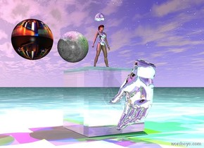 the glass cube. the ground is black water. the big silver hand is 1 inch in front of the cube. it is 1 inch above the ground. it is facing the cube. the red light is one foot above the cube. it is 2 feet to the left of the cube. the green light is three feet above the hand. It is 2 feet to the right of the hand. the blue light is 2 feet above the cube. the small moon is 1 inch above the cube. the magenta light is 1 inch above the moon. the big disco ball is 1 inch to the left of the moon. the very tiny silver woman is 1 inch to the right of the moon. she is standing on the cube. the yellow light is 1 inch to the right of the woman. it is 1 foot above her. the tiny silver hat is 1 inch above her.