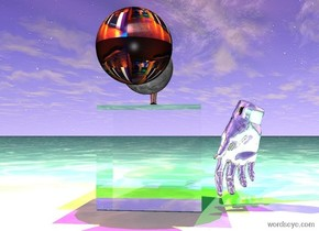 the glass cube. the ground is black water. the big silver hand is 1 inch in front of the cube. it is 1 inch above the ground. it is facing the cube. the red light is one foot above the cube. it is 2 feet to the left of the cube. the green light is three feet above the hand. It is 2 feet to the right of the hand. the blue light is 6 inches above the cube. the small moon is 1 inch above the cube. the magenta light is 1 inch above the moon. the big disco ball is 1 inch to the left of the moon. the very tiny silver woman is 1 inch to the right of the moon. she is standing on the cube. the yellow light is 1 inch to the right of the woman. it is 1 foot above her. the tiny silver hat is 1 inch above her.