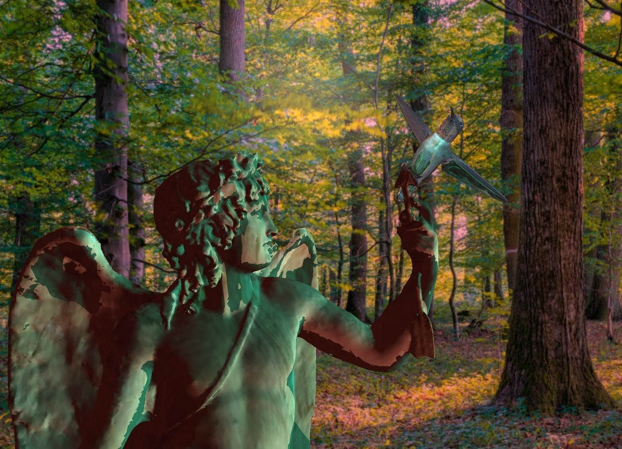 Input text: A statue is wood. Camera light is cyan. A large 40% shiny 80% dark bird is -7.7 inch above and -1 foot right of and -10 inch in front of the statue. It is facing southwest. It is leaning 50 degrees to the left. The azimuth of the sun is 210 degrees. The sun is pink. The altitude of the sun is 45 degrees. Ambient light is brown.