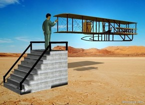 a stairway.a man is -17 inches above the stairway.he is -2 feet behind the stairway.the man is facing north.a airplane is 1 feet behind the stairway.it is above the stairway.the airplane is facing right.the sun's azimuth is 90 degrees.