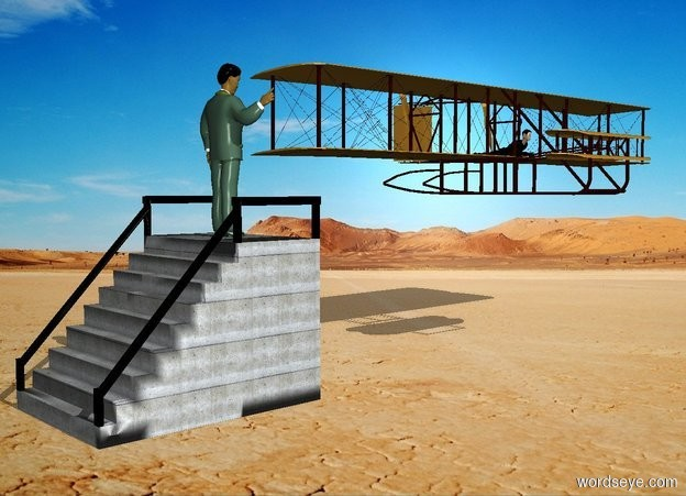 Input text: a stairway.a man is -17 inches above the stairway.he is -2 feet behind the stairway.the man is facing north.a airplane is 1 feet behind the stairway.it is above the stairway.the airplane is facing right.the sun's azimuth is 90 degrees.