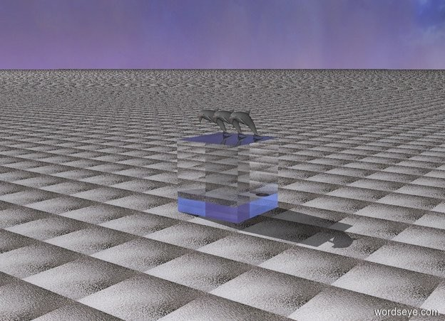 Input text: there is a broken record. the ground is glass. there are 3 small gray dolphins on a 5 feet tall glass cube.
