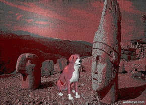 a [dr] backdrop.a 12 inch tall 40% dim shiny red  dog.the dog is facing southeast.