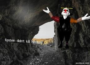 """black clown. tiny """"Epstein didn't kill himself"""""""