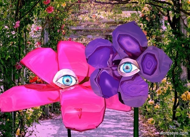 Input text: a 1st 10 foot tall shiny purple flower.  a cornflower blue light is -1 foot above and -.3 foot in front of the flower. sun is violet. it is noon. a 1st 1 foot tall shiny eye is -2.3 foot above and  -1.55 feet in front of the flower. a 2nd 15 foot tall shiny crimson flower is behind and -1 foot left of the flower. it faces southeast. a 2nd shiny 2 foot tall eye is -6.5 feet above and -7.5 feet south of and -9 feet east of the 2nd flower. it faces southeast. backdrop is garden. camera light is  peach puff.