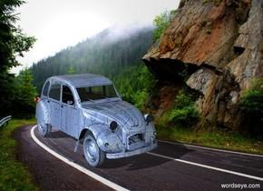 a baby blue [dirt] car.