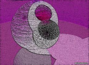 a 1st 200 inch tall  wood sphere.sky is 60% dim orange.ground is shiny.a 2nd 100 inch tall sphere is -150 inch above the 1st sphere.the 2nd sphere is -50 inch in front of the 1st sphere.a 3rd 780 inch tall clear  sphere is -200 inch in front of the 2nd sphere..a red light is 5 inch above the 1st sphere.two orange lights are  above the 2nd sphere.the 2nd sphere is 200 inch wide [steel].