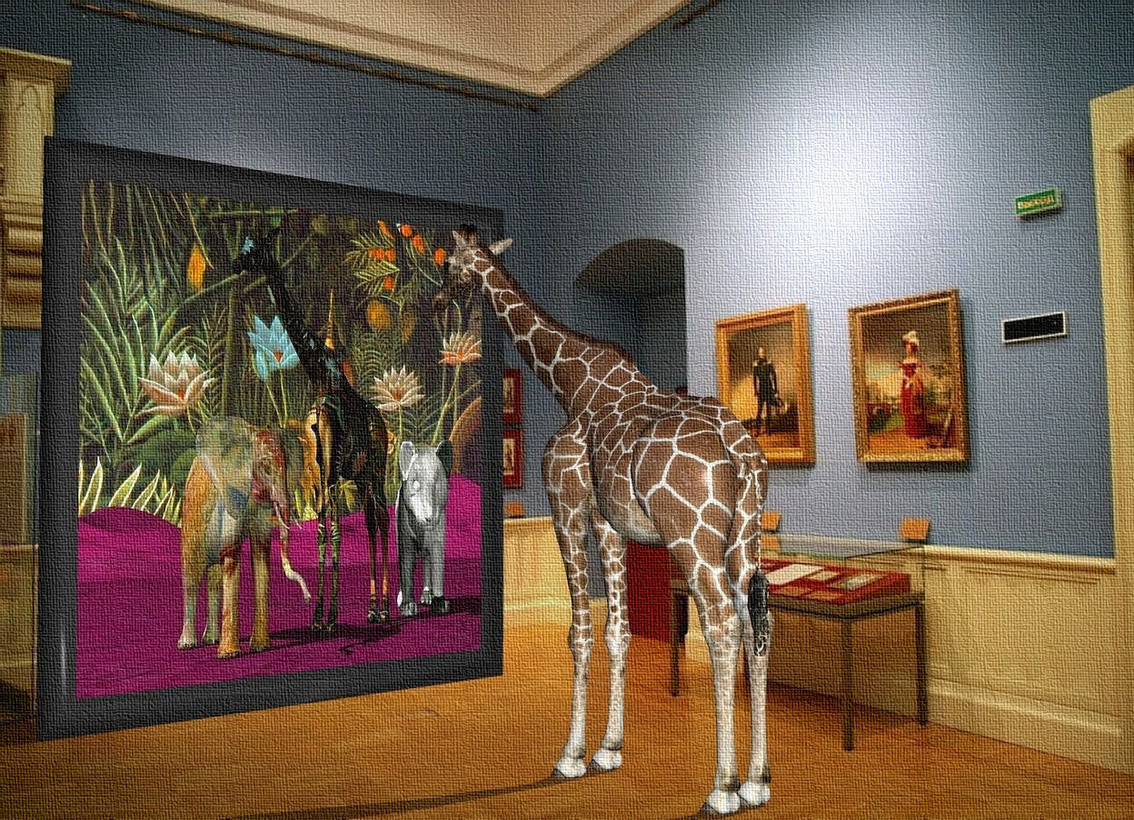 Input text: the giraffe is in the museum.  the giraffe painting is 8 feet in front of the giraffe. it is 20 feet tall. it is facing backwards.
