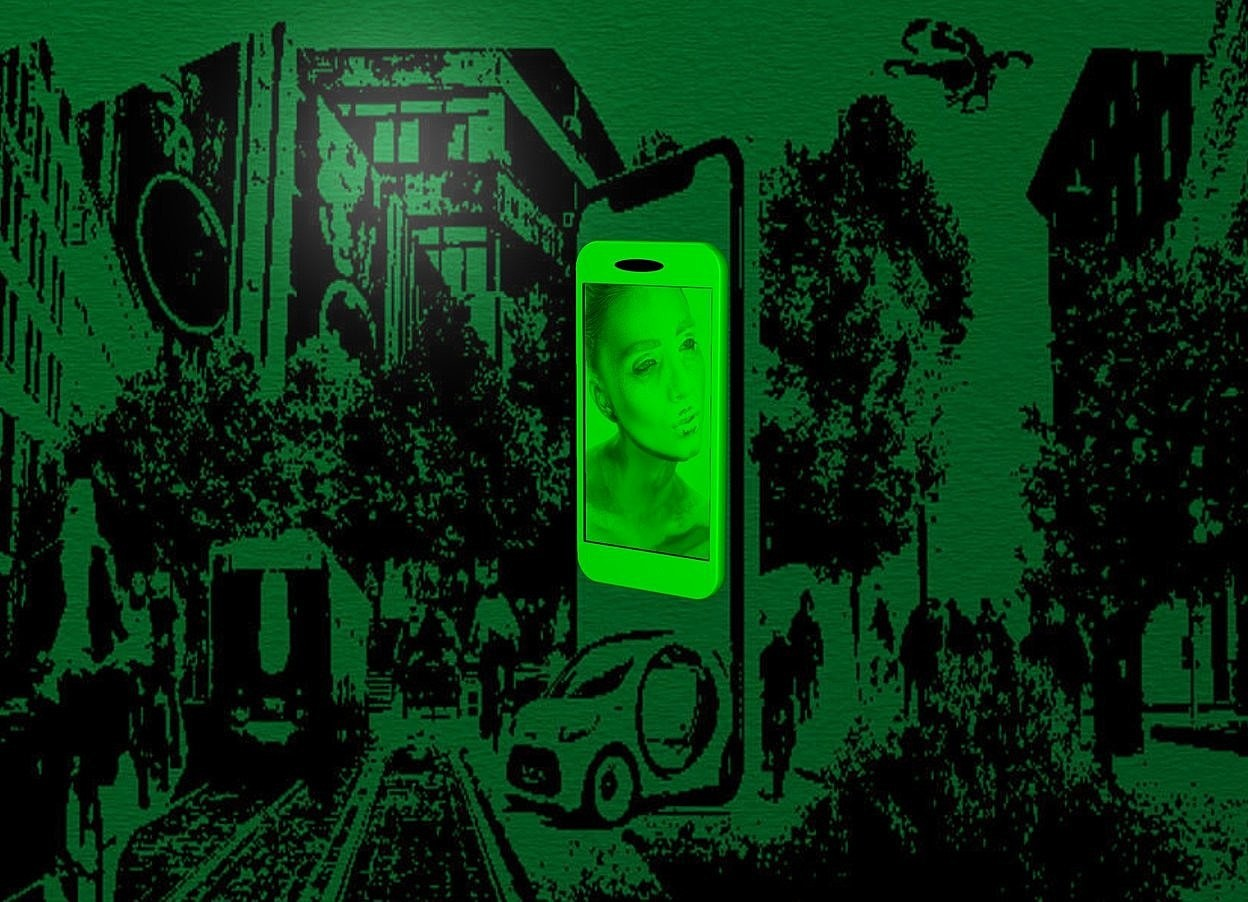 Input text: a [gw] backdrop.a 4 inch tall green cellphone.the display screen of the cellphone is green.the display screen is [woman].