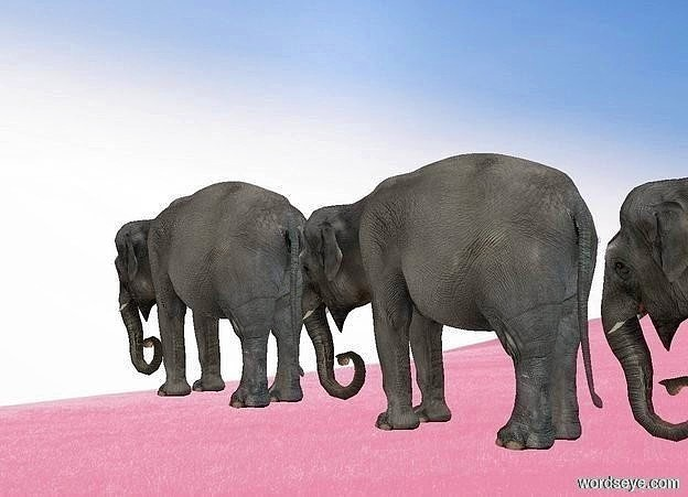 Input text: a fantasy backdrop. it is noon. an elephant is behind an elephant. an elephant is behind the elephant. shadow plane is invisible.  ambient light is silver. camera light is 20% dim. sun is dim.