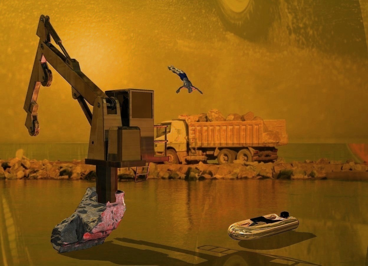 Input text: A gold dark marble crane is 4 feet right of and 10 feet behind a huge dark silver boat. The crane is 4 feet in and -25 feet right of and -12 feet in front of a huge boulder. The Boulder is leaning 90 degrees to the left. The sun is orange. Ambient light is black. 4 maroon lights are on the boat. The boat is facing north. The azimuth of the sun is 75 degrees. A large man is 6 feet left of and -34 feet above the crane. He is leaning 60 degrees to the back. He is facing east. A lemon light is above and right of the man. 30% shiny backdrop. Sky is rain.