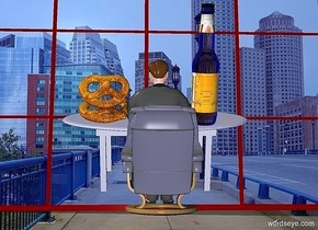 a  [city] backdrop.a 35 inch tall  man.the man is facing north.a 500 inch tall  and 700 inch wide  maroon window is 600 inch behind the man.the window is -100 inch above the man.a 20 inch tall steel table is behind the man.the table leans 20 degrees to the front.a 20 inch tall steel chair is in front of the man.the chair is facing north.a 30 inch tall beer bottle is -10 inch above the table. the table.the beer bottle is right of the man.the label of the beer bottle is 10 inch wide [alcohol].the bottle leans 20 degrees to the front.a 1st  10 inch tall pretzel is -1 inch left of the man.the 1st pretzel leans 50 degrees to back.the 1st pretzel is -10 inch above the table.a 2nd 10 inch tall pretzel is -4 inch above the 1st pretzel.the 2nd pretzel leans 45 degrees to back.the 2nd pretzel leans -25 degrees to the front.sky is  blue.
