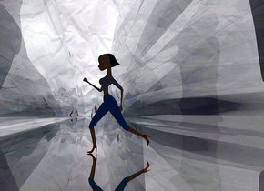 ground is 100 feet tall and 20000 feet wide and 200 feet deep.ground is clear .a shiny 80% dim blue paper backdrop.ground is visible.camera light is black.sky is gray.a 60 inch tall woman is on the ground.