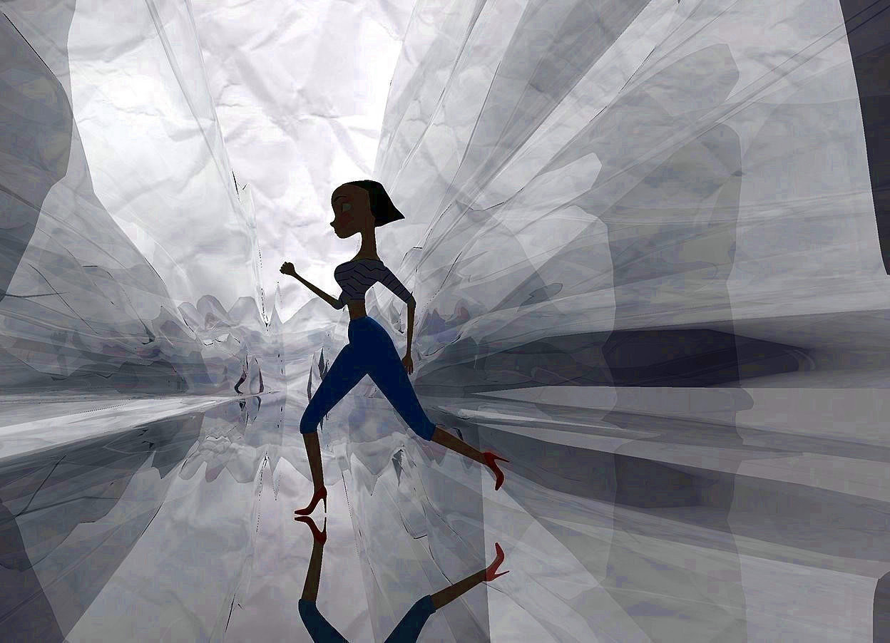 Input text: ground is 100 feet tall and 20000 feet wide and 200 feet deep.ground is clear .a shiny 80% dim blue paper backdrop.ground is visible.camera light is black.sky is gray.a 60 inch tall woman is on the ground.