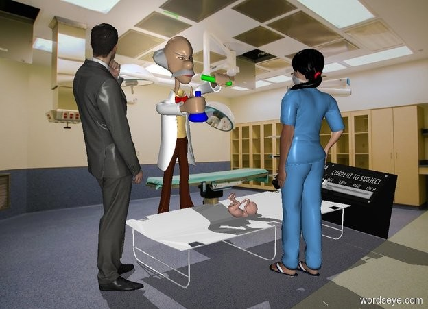 Input text: a cot.a large infant is -2 inches above the cot.the infant is face up.a 1st man is left of the cot.he is facing the cot.a woman is right of the cot.she is facing the cot.hospital backdrop.a 2nd man is in front of the cot.he is facing the cot.a large control panel is behind the cot.