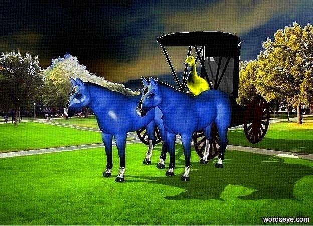 Input text: a 100 inch tall   carriage.the carriage is facing southwest.a 1st 70 inch tall delft blue horse is -40 inch in front of the carriage.the 1st horse is facing southwest.the 1st horse is -55 inch left of the carriage.a 2nd 70 inch tall delft blue horse is -40 inch right of the 1st horse.the 2nd horse is facing southwest.a 40 inch tall yellow duck is -60 inch above the carriage.the duck is facing southwest.