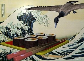 A sushi is in the sea. A bird is behind the sushi. It is facing the sushi. It is leaning 70 degrees to the front.