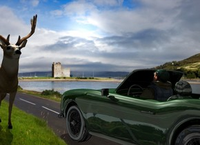 A dark 25% shiny racing green convertible is -2 inch above the ground. 80% dark Scotland backdrop. A 4 feet high man is -2.8 feet right of and -4.3 feet above the car. He is leaning back. Camera light is black. A light is right of and 3 feet above and in front of the car. The sun is silver. The sky is 3000 feet wide racetrack. A deer is right of and in front of the car. It is facing north. The azimuth of the sun is 200 degrees.