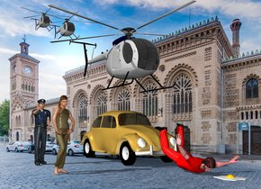 The  image  backdrop.  the red man is on the ground.  the car is behind him. the second man is 5 feet to the left of the car. the helicopter is 2 feet above the car. The small second helicopter is 2 feet behind and 2 feet above the helicopter. The  small third  helicopter is 2 feet behind and 1 feet above the second helicopter. The girl is 4 feet in front of the second man. The huge egg is in front of the red man.