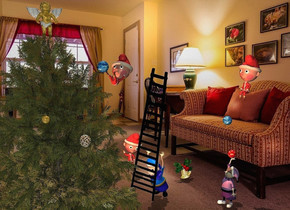 1st elf is -5 feet above and -4 feet right of a small tree. it faces southwest. it leans 12 degrees to the back. backdrop is living room. a 1 feet tall [texture] sphere is -2 feet above and -1 feet left of the elf. a 19 feet tall black ladder is -19 feet above and -2.3 feet right of the elf. it faces southwest. it leans 25 degrees to the southwest. 2nd large elf is -1 feet right of and -1 feet behind the ladder. it faces the tree. it leans 27 degrees to the front. 3rd large elf is 8.7 feet right of and 5.5 feet above the 2nd elf. it faces the tree. 2nd 1.2 feet tall [texture] sphere is .7 feet left of and -9.3 feet above the 3rd elf. a huge bell is 2 feet right of and 1 feet behind the 2nd elf. 4th elf is 11 feet behind and 1 feet right of the ladder. 5th large elf is 3.4 feet right of and 1 feet in front of the 2nd elf. it faces the 1st elf. a large pinecone is 2 feet left of and 3 feet in front of and -7 feet above the 1st elf. 3rd 1 feet tall texture] sphere is above the 5th elf. shadow plane is visible. sun's azimuth is 20 degrees. sun's altitude is 60 degrees. camera light is 20% sage green. a coral light is -9 feet above the tree. a large gold Christmas ornament is 2 feet left of and 1 feet above the pinecone. a gold 3 feet tall angel is -.6 feet above and -9.6 feet right of the tree.