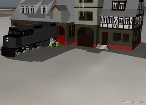 the woman is several feet in front of the train station .  The chartreuse couch is behind the woman. humanoid is 5 inch to the right of the woman. the ground is tile.  the amtrak train engine is 1 inch to the left of the woman