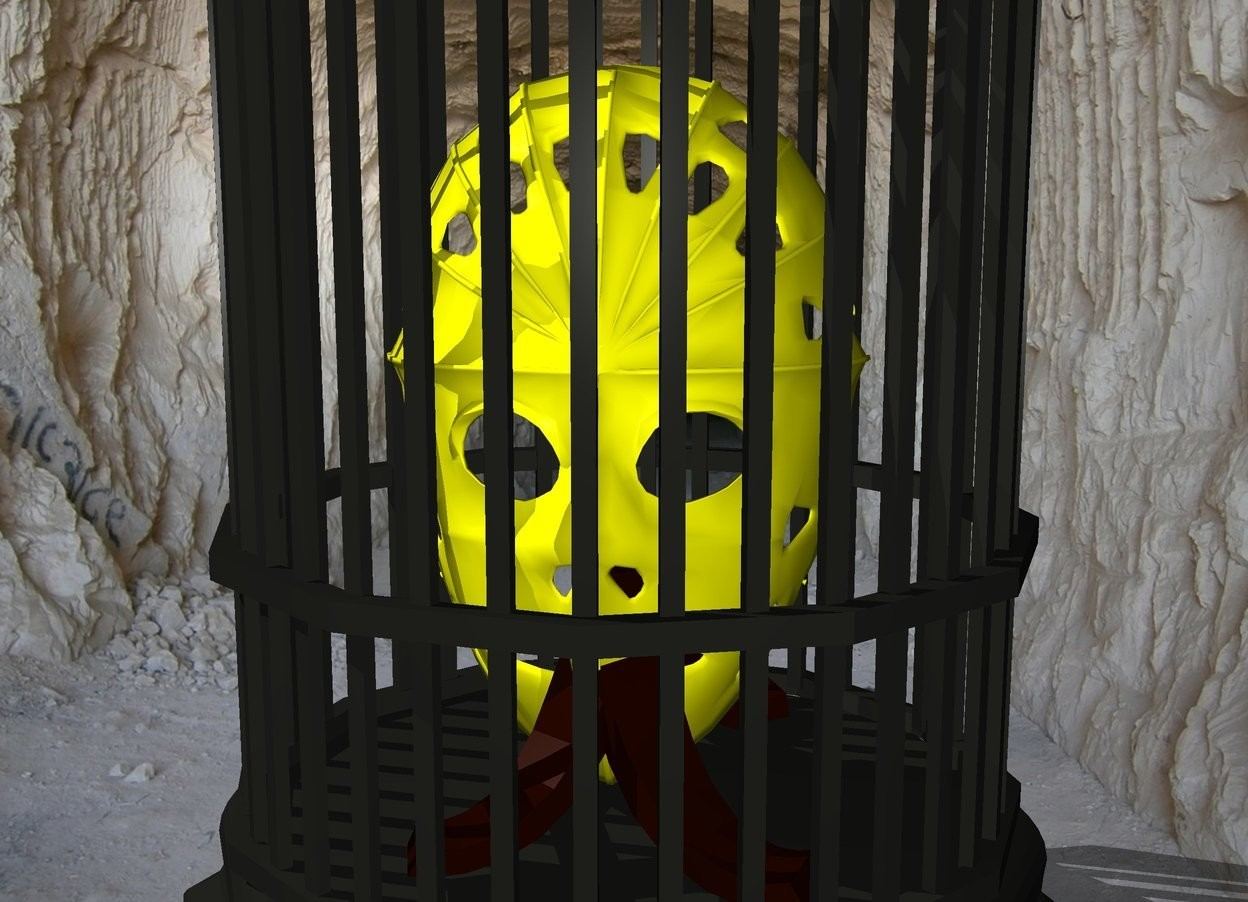Input text: yellow hockey mask in a cage