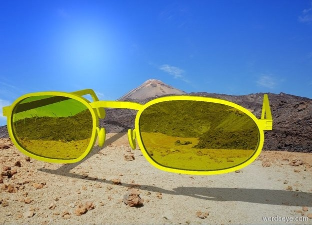 Input text: yellow clothes in the desert