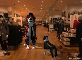 a 1st plaid dog is 10 feet tall. a 4 foot tall and 1 foot wide necktie is -7 feet above and -1.4 feet in front of and -2.5 feet right of the dog. a large black hat is -.2 feet above and -2 feet in front of the dog. a big border collie is in front of and right of the dog. it faces the dog. a 2nd big dog is right of the border collie. it faces the first dog.  sun is old gold. camera light is dim. a linen light is above and 10 feet left of the 1st dog.