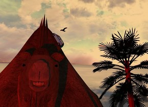 A flat camel. A 2 inch high shiny navy van is -1 foot above and -2.1 feet left of the camel. It is facing west. It is leaning 60 degrees to the back. Camera light is black. 4 red lights are 1 foot in front of and 6 feet left of the camel. The sun is amber. A palm tree is 4 feet right of and 20 feet behind and -25 feet above the camel. The sky is leaning front. A black bird is above and 10 feet left of the tree. It is facing southwest.