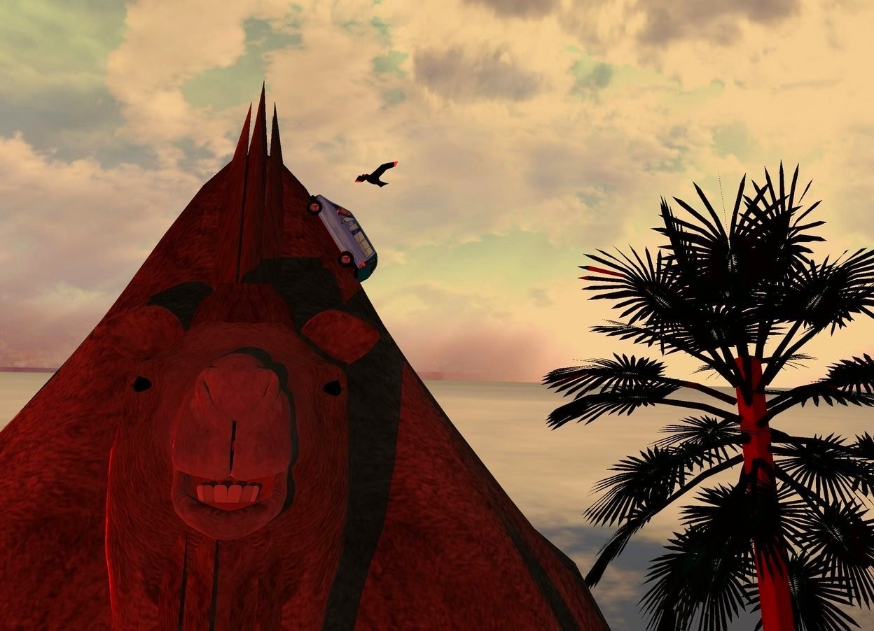 Input text: A flat camel. A 2 inch high shiny navy van is -1 foot above and -2.1 feet left of the camel. It is facing west. It is leaning 60 degrees to the back. Camera light is black. 4 red lights are 1 foot in front of and 6 feet left of the camel. The sun is amber. A palm tree is 4 feet right of and 20 feet behind and -25 feet above the camel. The sky is leaning front. A black bird is above and 10 feet left of the tree. It is facing southwest.
