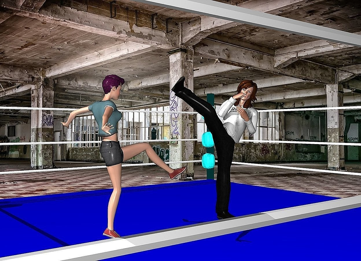 Input text: the first woman is facing the second woman. they are in the boxing ring.  the factory backdrop.