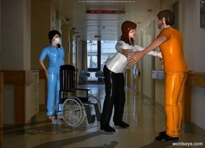 a man.a 5.7 feet tall woman is -6 inches in front of the man.she is facing the man.a wheelchair is 6 inches in front of the woman.it is facing the woman.hospital backdrop.a 2nd 5.7 feet tall woman is in front of the wheelchair.she is facing the wheelchair.the wheelchair's wheel is shiny.