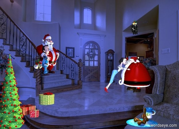 Input text: a woman. she leans 27 degrees to the front. she is -.46 feet above the ground. elf is -2 feet in front of and -5.16 feet above the woman. it faces the woman. the mouth of the elf is peach. backdrop is stairway. a Christmas tree is 12 feet behind and 1.8 feet left of and -8 feet above the elf. a 2 feet tall boy is 8.6 feet behind and 13.5 feet left of and -1.8 feet above the elf.the shirt of the boy is [dog]. a bell is 9.1  feet behind and -1.4 feet above and 12.5 feet left of the elf. a large mistletoe is 3.2 feet above the elf. it faces northwest. a large [Christmas] plate is 1.7 feet behind and 13.4 feet left of the elf. a 1 feet tall cookie is on the plate. it faces north. a .7 feet tall [Christmas] mug is right of  and -.3 feet in front of the plate. it faces northeast. 1st present is .27 feet in front of and .4 feet right of and -7.5 feet above the tree. 2nd large present is -.4 feet behind and right of the 1st present. it faces southeast. 3rd large present is .4 feet in front of and .1 feet above the 2nd present. camera light is dim. ambient light is storm blue. a orange light is 1 feet above the elf. sun is cobalt blue. a coral light is 2 inch above the mistletoe. a sage light is -2 inch above and -2 inch behind the cookie.  a 2nd 3 foot tall elf is 1 foot right of the boy. he faces southwest.