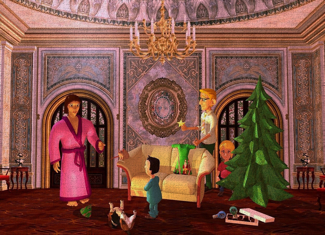 Input text: a woman faces southeast. backdrop is room. a sofa is -1 feet behind and right of the woman. a 6 feet tall Christmas tree is right of and -2 feet above the sofa. a .7 feet tall rat is -.5 feet above and -.5 feet left of and -2.4 feet behind the sofa. 1st 3 feet tall boy is 1 feet in front of the sofa. he faces the woman. a 2.8 feet tall and 1.6 feet wide group is -2.5 feet above and -1.4 feet behind and -2.6 feet right of the sofa. it is 8 inch tall [pj]. it leans 10 degrees to the back. a hound is left of the boy. it faces northwest. it is upside down. it is -.7 feet above the ground.  a large box is in front of the Christmas tree. 1st  large lime green bulb is -.3 feet above and -.6 feet left of and -1.3 feet behind the box. it leans right. 2nd large royal blue bulb is left of and -.6 feet above the box. it leans 68 degrees to the left.a party hat is .3 feet in front of and -.7 feet right of the woman. it is 5 inch tall [pj]. it leans 35 degrees to the left. 2nd 3 feet tall boy is behind and -1 feet left of and -7 feet above the Christmas tree. the shirt of the boy is  pink. a head of hair is -.9 feet above and -.9 feet behind and -.99 feet left of the boy. a man is -.5 feet left of the 2nd boy. he faces the woman. a shiny 6 inch tall star symbol is -2.3 feet above and -.47 feet left of and -1.6 feet in front of the man. the ambient light is peach. the camera light is dim. the sun is gentle blue. a coral point light is 6 inch left of and 3 inch above the hound. a insect green light is 2 inch in front of the party hat.