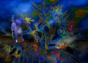a [cg] backdrop.a 12 inch tall  blue dog.the dog is facing southeast.a 6 inch tall piranha is 10 inch right of the dog.the piranha is facing southwest.