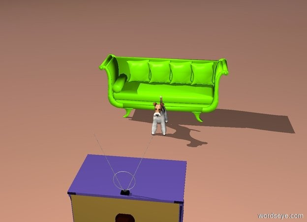 Input text: the mauve television is several feet in front of the dog. it is facing the dog. The chartreuse couch is behind the dog. the ground is tile.