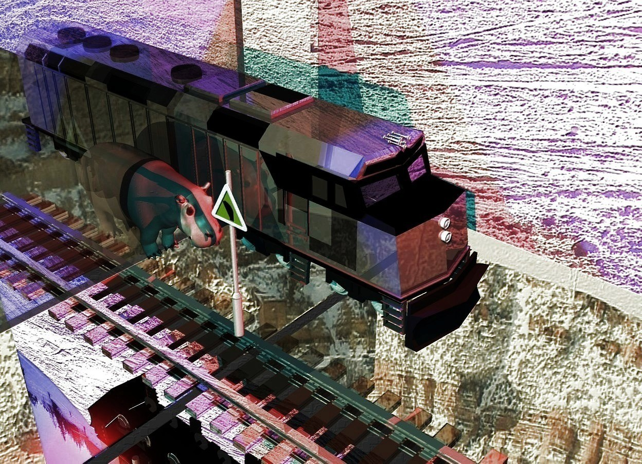 Input text: A tall clear wall is above a long silver wall. [Snow] sky. Silver ground. A small 20% shiny train is -4 feet right of the wall. 4 blue lights are above the wall. 4 red lights are in front of and left of and above the train. Camera light is cyan. A hippo is left of the train. A 50% dark yellow sign is in front of and -1.5 foot right of and -6 feet above the hippo. It is facing west. The sun is khaki. A huge [snow] wall is 4 feet right of the train. It is facing east. A very long thin dark shiny track is -15 feet above the train.