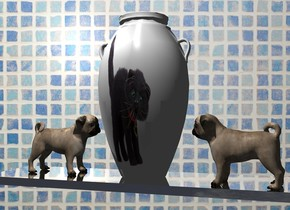 A [fur] vase is on a silver shelf. Wall backdrop. A dog is left of and -10 inch in front of the vase. It is facing the vase. It is -0.2 inch above the shelf. A dog is right of and -8 inch in front of the vase. It is facing the vase. It is -0.2 inch above the shelf. Camera light is black. A light is above and in front of the vase. Sky is 50% dark.