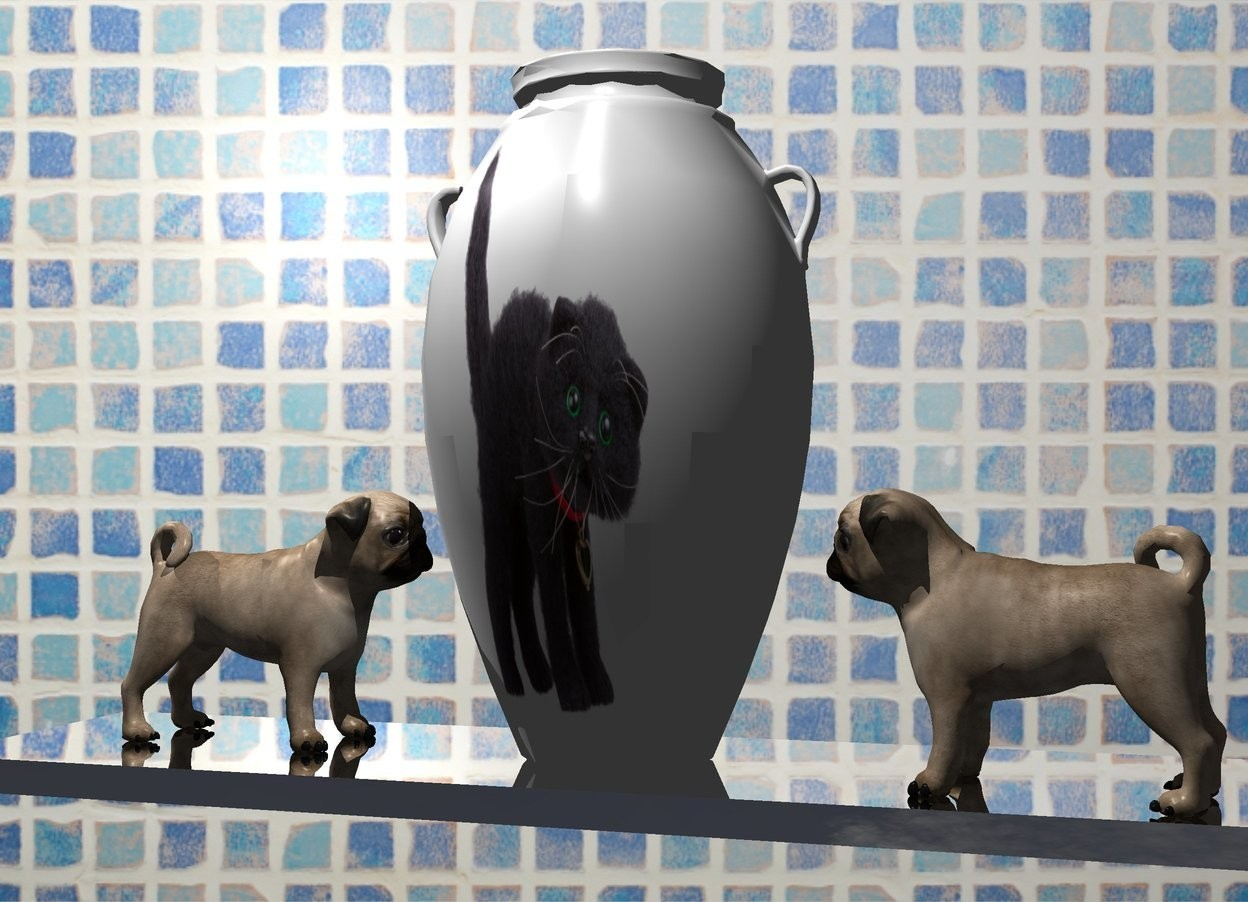 Input text: A [fur] vase is on a silver shelf. Wall backdrop. A dog is left of and -10 inch in front of the vase. It is facing the vase. It is -0.2 inch above the shelf. A dog is right of and -8 inch in front of the vase. It is facing the vase. It is -0.2 inch above the shelf. Camera light is black. A light is above and in front of the vase. Sky is 50% dark.